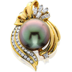 14ky Pend Tahitian Pearl 13mm Diamonds .42cttw