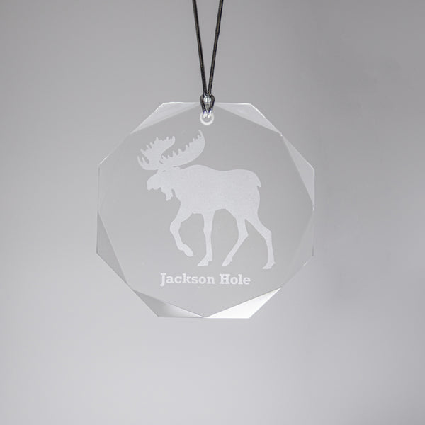 GL500M; Crystal Round Bull Moose Ornament w/Beveled Edges