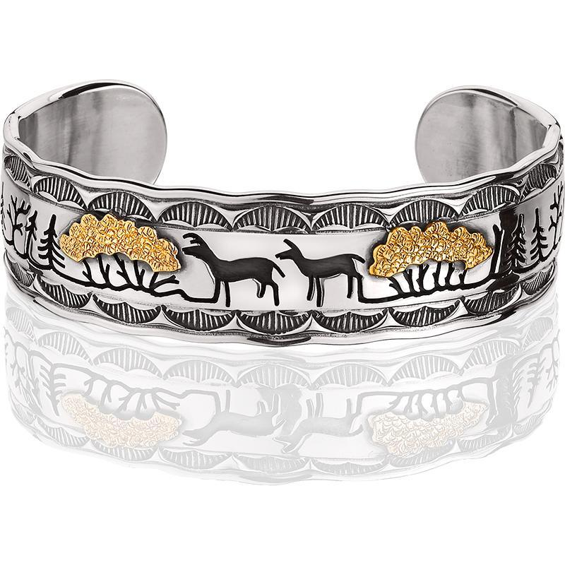 PHIL008M; Silver and 14K Yellow Gold Woodland Scene Bracelet