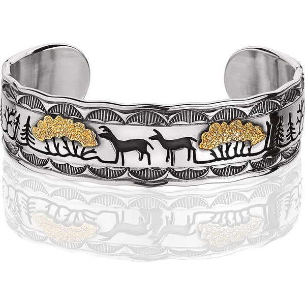 PHIL008S; Silver and 14K Yellow Gold Woodland Scene Bracelet