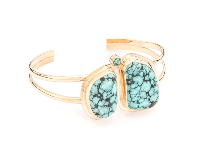 PM118; 14K Yellow Gold Bracelet w/Turquoise & Green Tourmaline