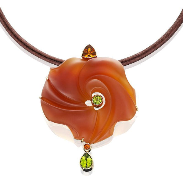 PM225; 14K Yellow Gold Pendant/Pin with Chalcedony, Citrine, Peridot and Spessartite Garnet