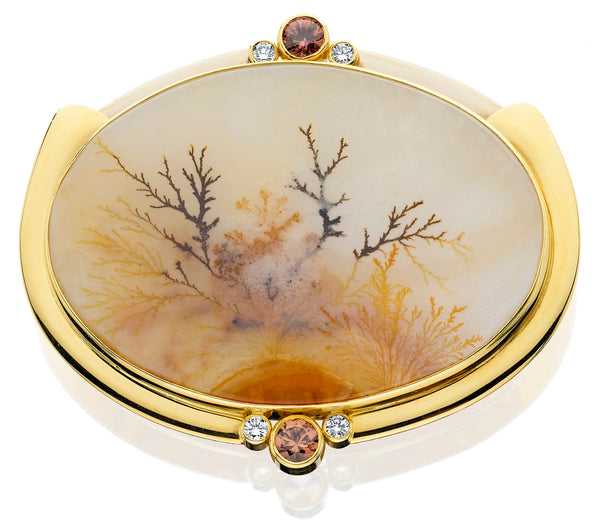 PM248; 14K Yellow Gold Dendrite Agate Pendant/Pin with Brown Zircon and Diamonds