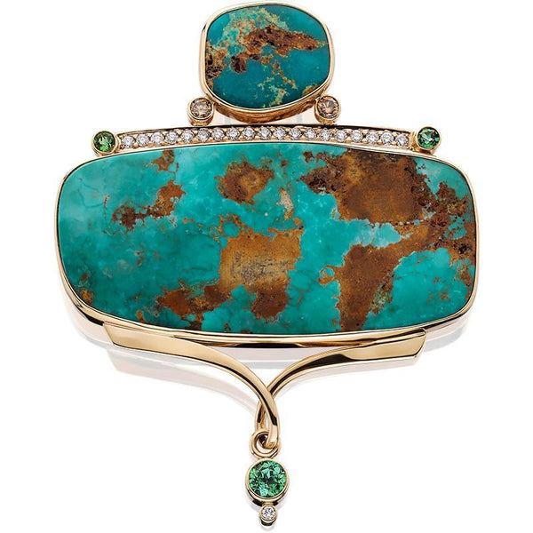 PM261; 14K Yellow Gold Turquoise Pendant w/Green Tourmaline, Diamonds and Brown Diamonds