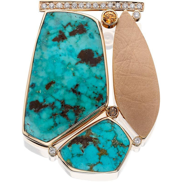 PM262; 14K Yellow Gold Turquoise Pendant w/Golden Zircon and Diamonds