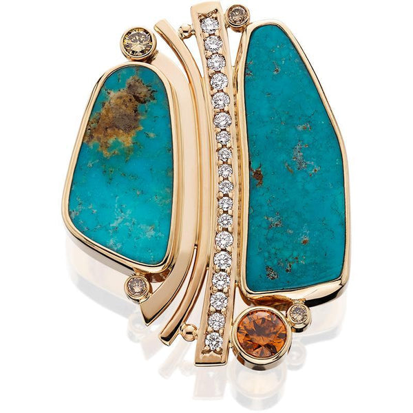 PM263; 14K Yellow Gold Turquoise and Diamond Pendant