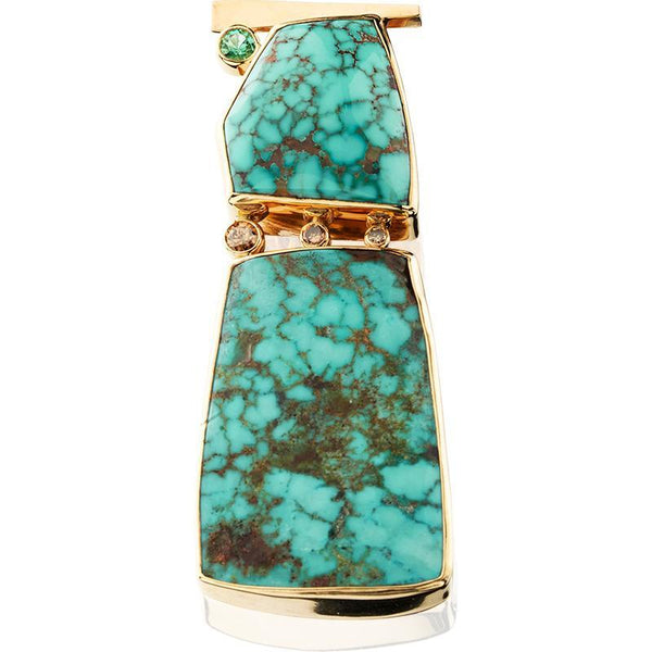 PM265; 14K Yellow Gold Turquoise Pendant w/Brown Diamonds and Green Tourmaline