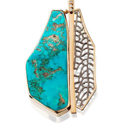 PM266; 14K Yellow Gold and Silver Turquoise Pendant w/Sand Coral and Diamonds