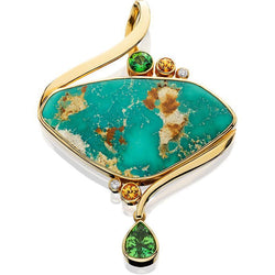 PM268; 14K Yellow Gold Turquoise Pendant w/Brown Zircon, Peridot, Green Tourmaline and Diamonds