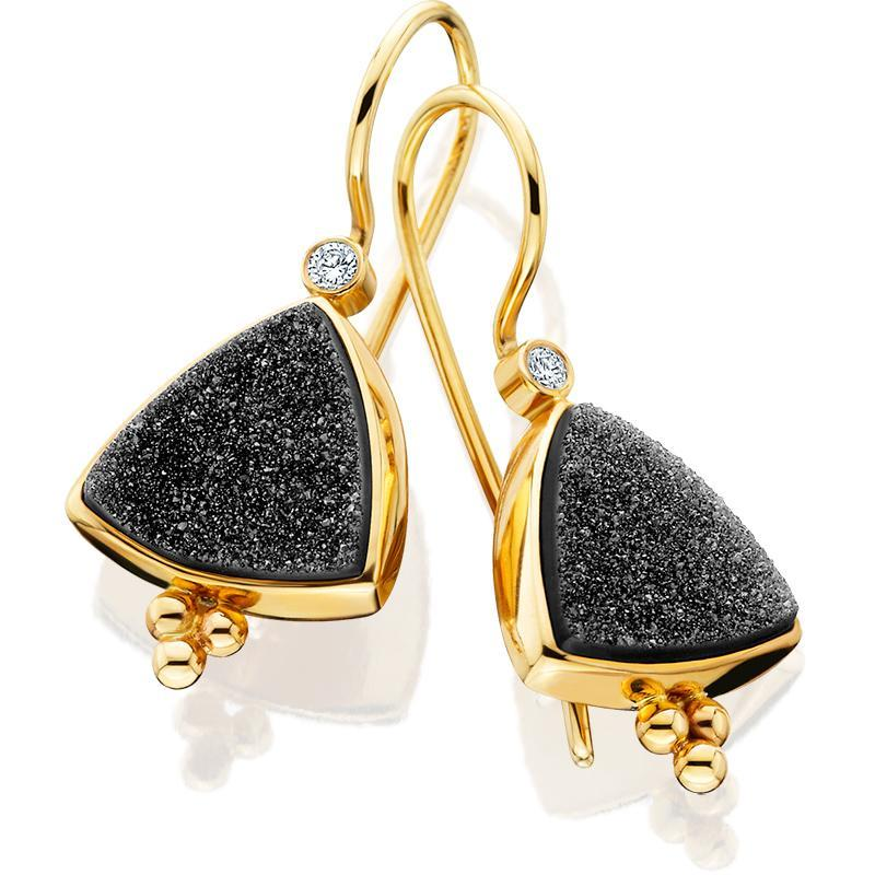 PM504; 14K Yellow Gold Black Onyx and Diamond Earrings