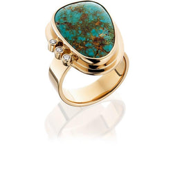 PM621; 14K Yellow Gold Turquoise and Diamond Ring