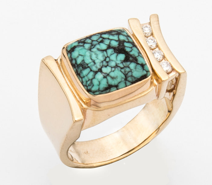 PM629; 14K Yellow Gold Ring w/Turquoise and Diamonds