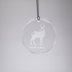 GL500A; Crystal Antelope Ornament w/Beveled Edges