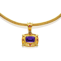 RAIBLEKEN0001; 18K Yellow Gold Pendant w/Tanzanite and Rubies