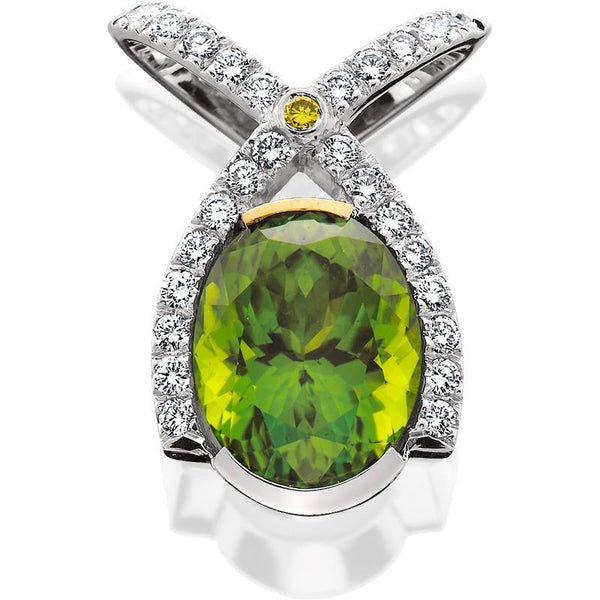SCHNEIDER0017;  White Gold Pendant w/Oval Peridot and Diamonds