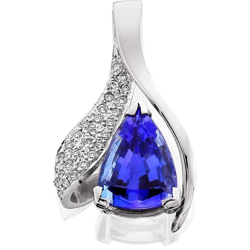 SCHNEIDER0019; White Gold Tanzanite Pendant with Diamonds