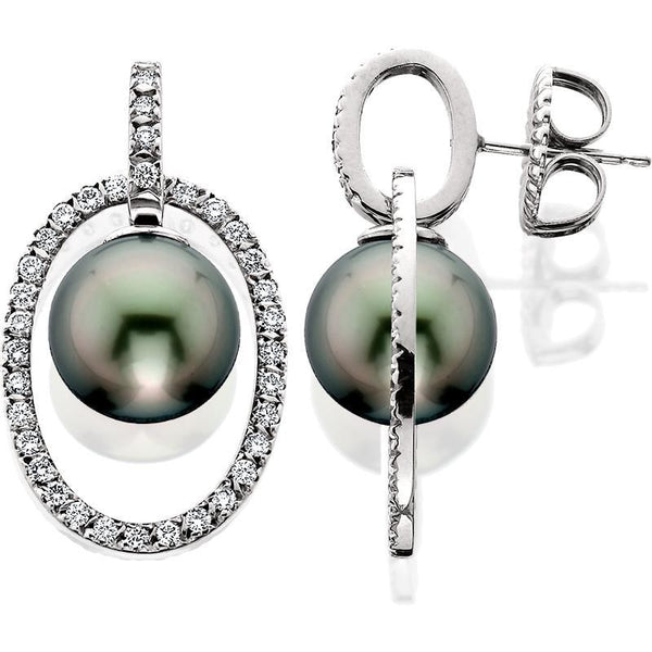 SCHNEIDER0053; White Gold Tahitian Pearl Earrings w/Diamonds