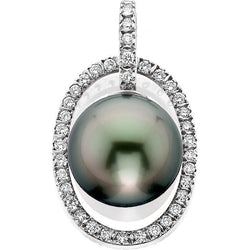 SCHNEIDER0054; White Gold Tahitian Pearl Pendant with Diamonds