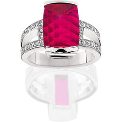 SCHNEIDER0055; Rubellite Tourmaline and Diamond Ring