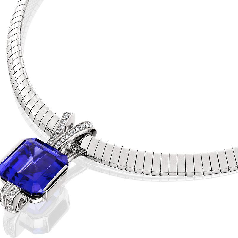 SCHNEIDER0056; White Gold Tanzanite Pendant with Diamonds