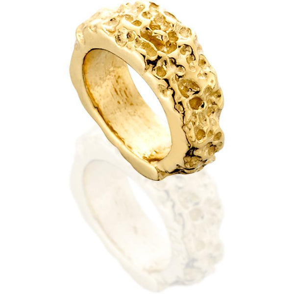 SUN514; 14K Yellow Gold Rough Center Spacer Bead