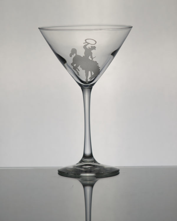 GL013BB; Martini Glass w/Bucking Bronco