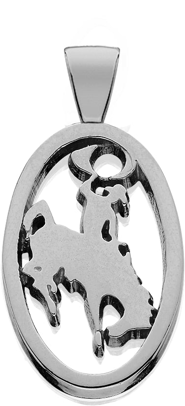 HCS006; Silver Large Bucking Bronco Pendant