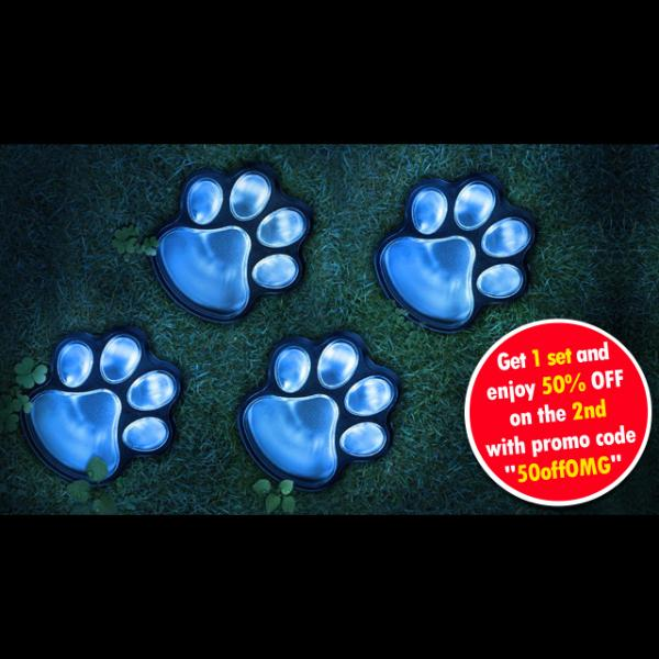 4 Solar Dog Paw Print Garden Lights