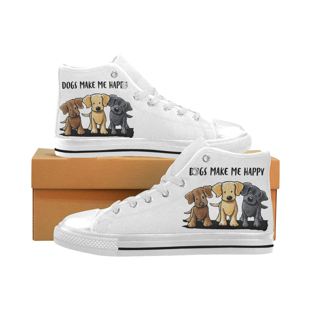 Dogs Make me Happy Unisex  High Top Canvas Shoe