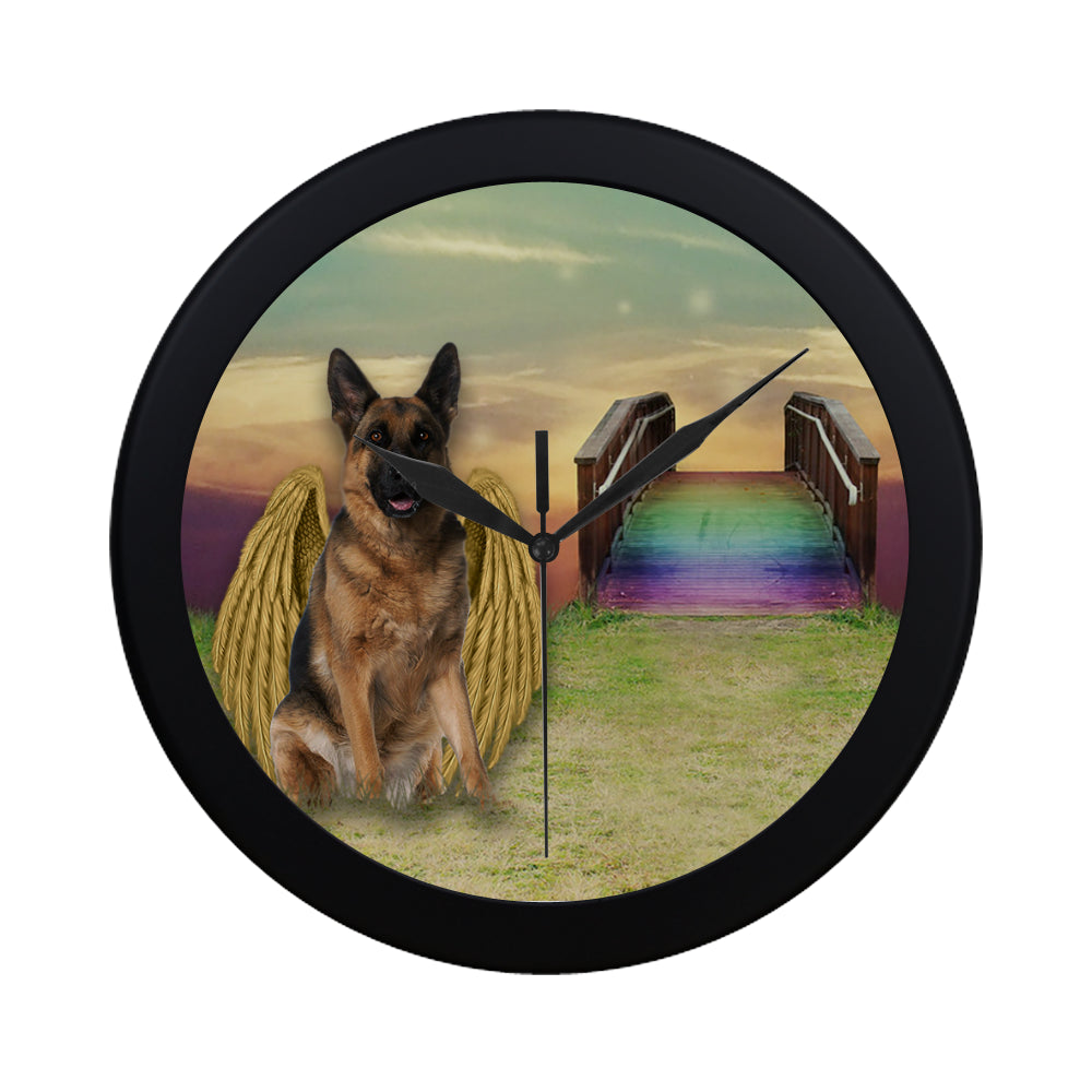 Dog Rainbow Bridge Elegant Black Wall Clock