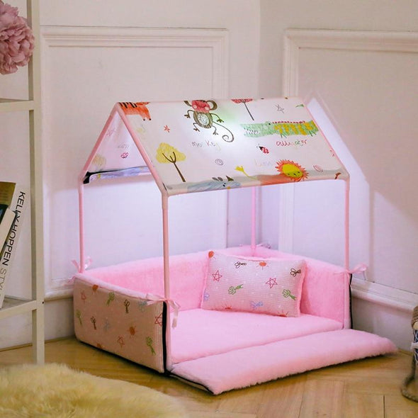 Cozy Washable Home Shaped Bed for Puppies, Cats & Small Dogs Small Dog Bed GlamorousDogs Pink Length: 24.8'' (63cm) Width: 16.9'' (43cm) Height: 24.8'' (63CM)