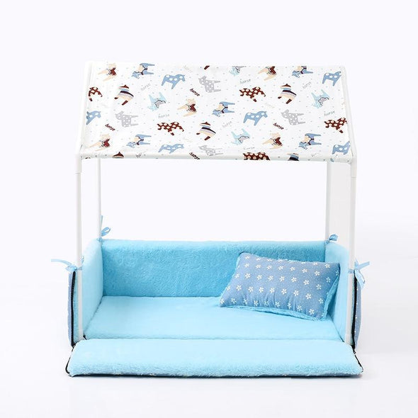 Cozy Washable Home Shaped Bed for Puppies, Cats & Small Dogs Small Dog Bed GlamorousDogs Sky Blue Length: 24.8'' (63cm) Width: 16.9'' (43cm) Height: 24.8'' (63CM)