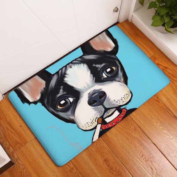DOG ART FLOOR MAT Dog Mat GlamorousDogs BOSTON TERRIER 16X24 INCH / 40X60 CM