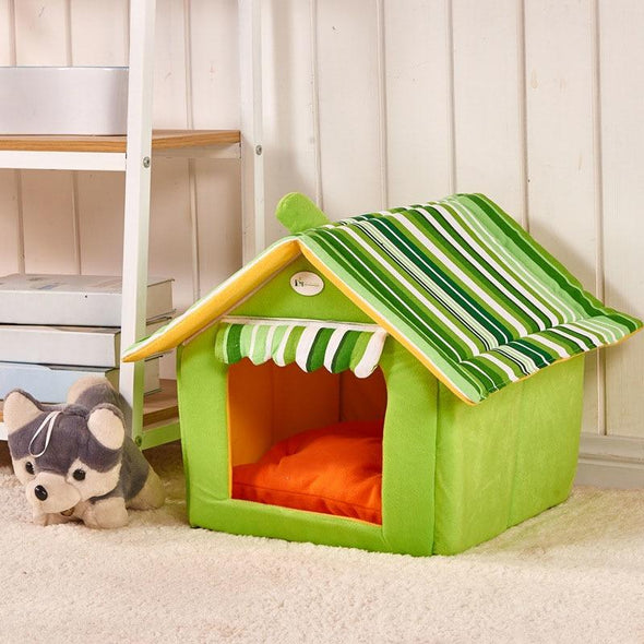 DOGMANSION: Indoor Dog House With Removable Cover Dogs Bed GlamorousDogs Green S(13.7'in*11.8in*13.7in)