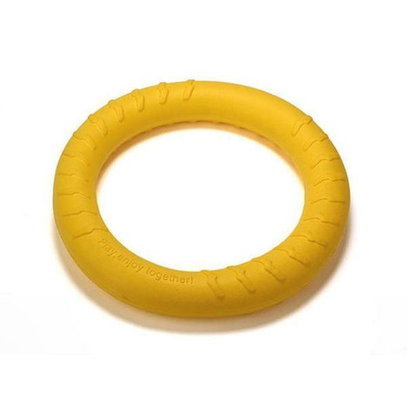 Durable Dental Dog Floating Training Ring Summer Toys Stunning Pets Yellow 18 CM Diameter