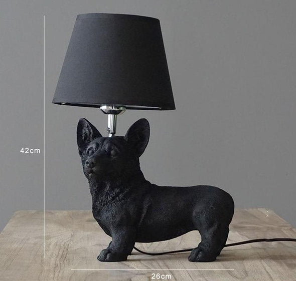 Elegant Retro Dog-inspired Table Lamp High Ticket GlamorousDogs Black Corgi