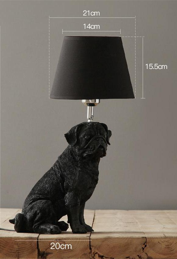 Elegant Retro Dog-inspired Table Lamp High Ticket GlamorousDogs Black Pug
