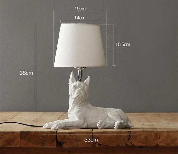 Elegant Retro Dog-inspired Table Lamp High Ticket GlamorousDogs White Boston Terrier