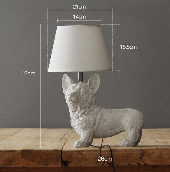 Elegant Retro Dog-inspired Table Lamp High Ticket GlamorousDogs White Corgi