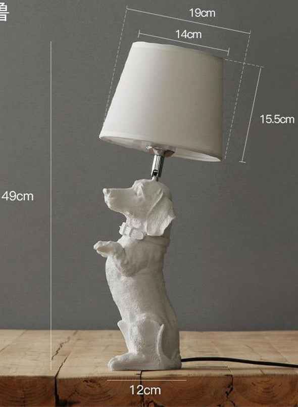 Elegant Retro Dog-inspired Table Lamp High Ticket GlamorousDogs White Dachshund