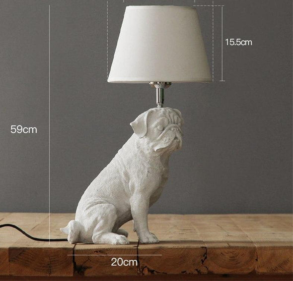 Elegant Retro Dog-inspired Table Lamp High Ticket GlamorousDogs White Pug