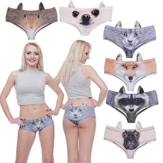 Funny 3D Animal Print Women Underwear