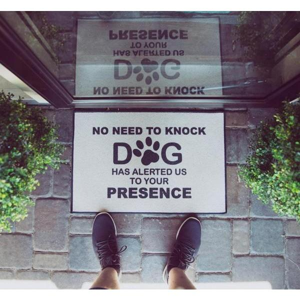 "The Funny Dog Doormat ""No Need To Knock  Doormat"