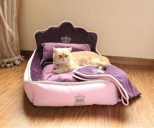 Luxury Princess Bed for Pets Stunning Pets Purple 53x36x33cm