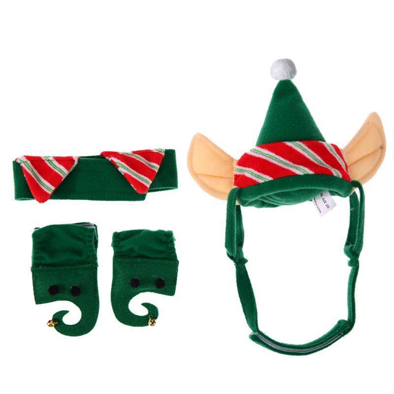 Pet Christmas Green Hat + Necklace + Feet Sleeve Stunning Pets