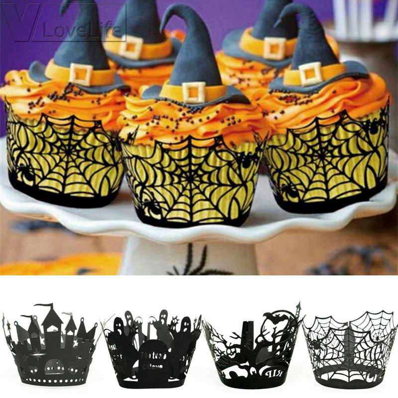 Laser Cut Halloween Decoration For Cupcake & Muffin (12pcs/set)