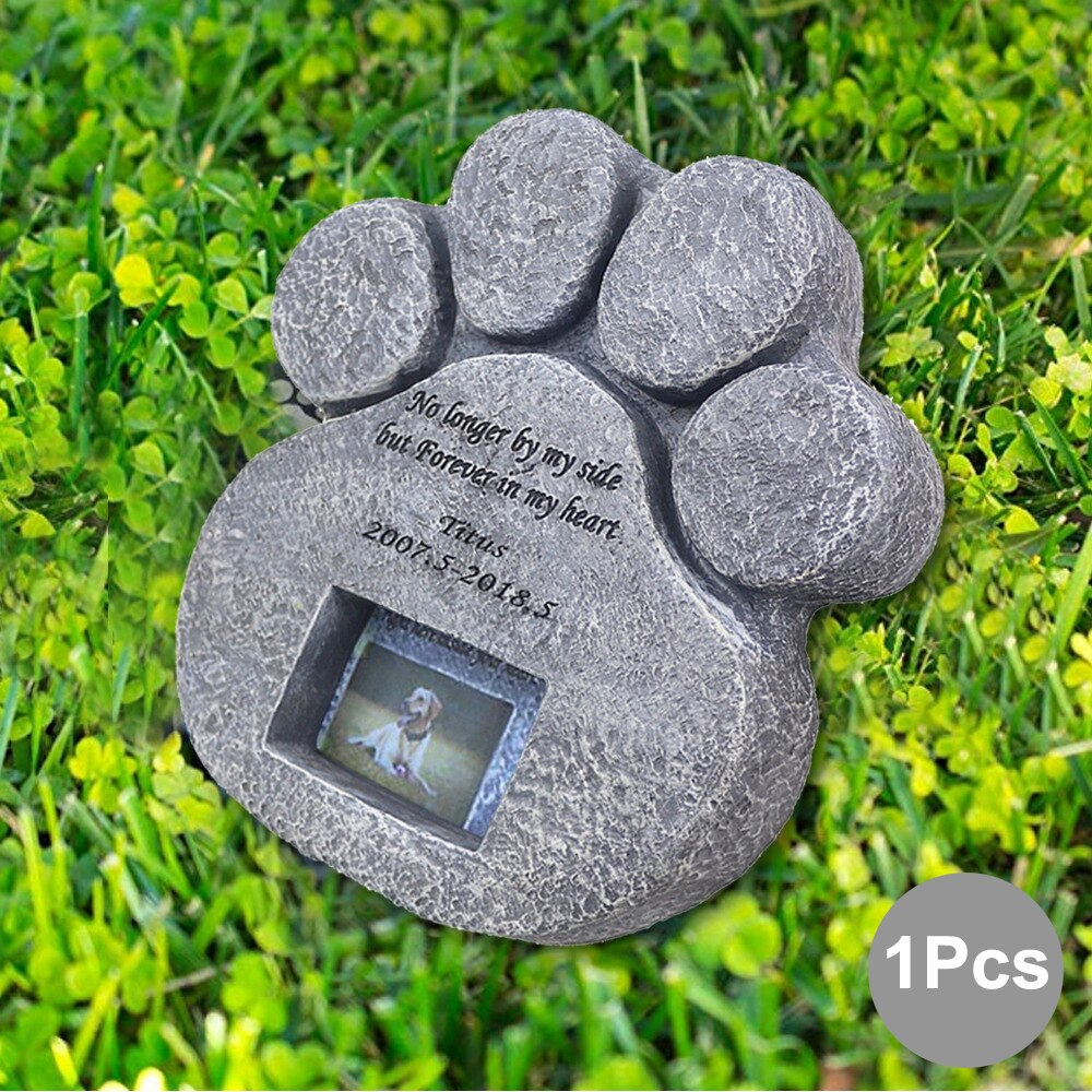 Pet Memorial Rock Garden Paw Plaque Dog Cat Tombstone Cemetery Grave Statue
