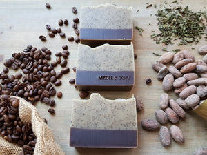 Morning coffee natural soap with coffee grounds, peppermint and cocoa powder.