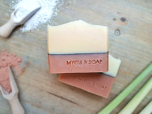 On the Line natural, handmade soap with lemongrass essential oil, Kaolin clay and red French clay.