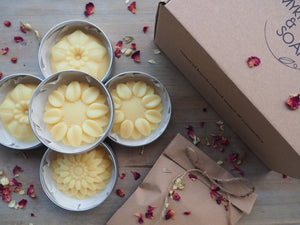 Handmade, 100% natural Lotion bar with organic cocoa butter, and its gift box